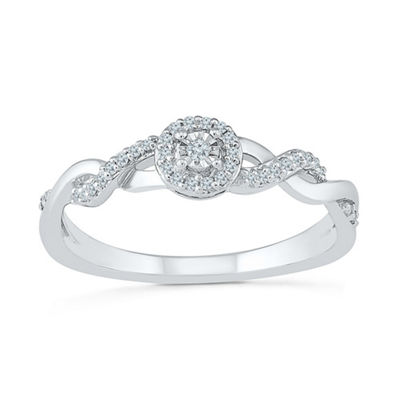 Promise My Love Womens 1/10 CT. T.W. White Diamond Sterling Silver Promise Ring
