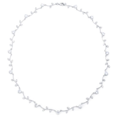 Diamonart Womens 18 Inch White Cubic Zirconia Sterling Silver Link Necklace