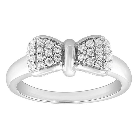 Enchanted Disney Fine Jewelry Womens 1/4 CT. T.W. Genuine White Diamond Bow Disney Princess Cocktail Ring