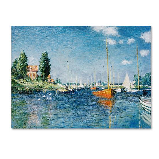 Trademark Fine Art Claude Monet Red Boats at Argenteuil Giclee Canvas Art