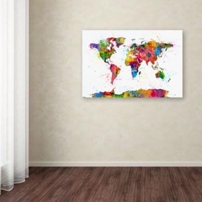 Trademark Fine Art Michael Tompsett Map of the World Watercolor Giclee Canvas Art