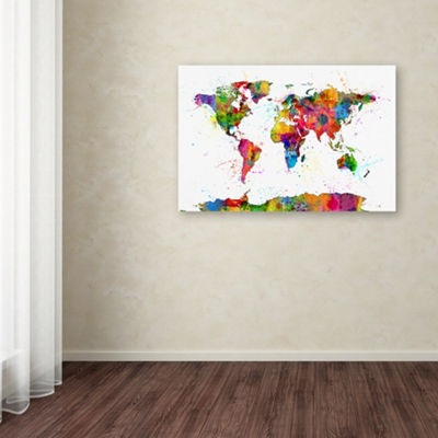 Trademark Fine Art Michael Tompsett Map of the World Watercolor Giclee Canvas Art