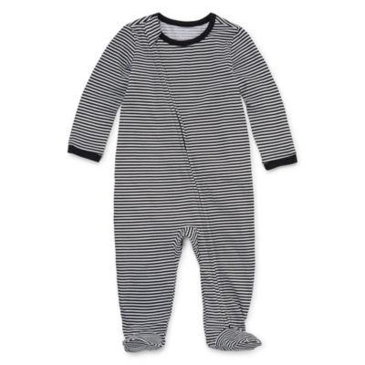 """Okie Dokie Stripe """"Love"""" Long Sleeve Full Zip Sleep and Play - Baby Girl NB-9M"""