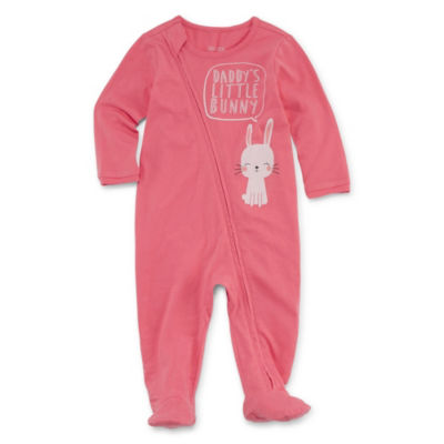 Okie Dokie Bunny Long Sleeve Full Zip Sleep And Play - Baby Girl NB-9M