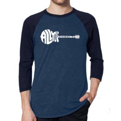 Los Angeles Pop Art Men's Raglan Baseball Word ArtT-shirt - All You Need Is Love