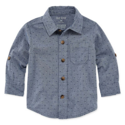 Okie Dokie Long Sleeve Chambray Button-Front Shirt - Baby Boy 3M-24M