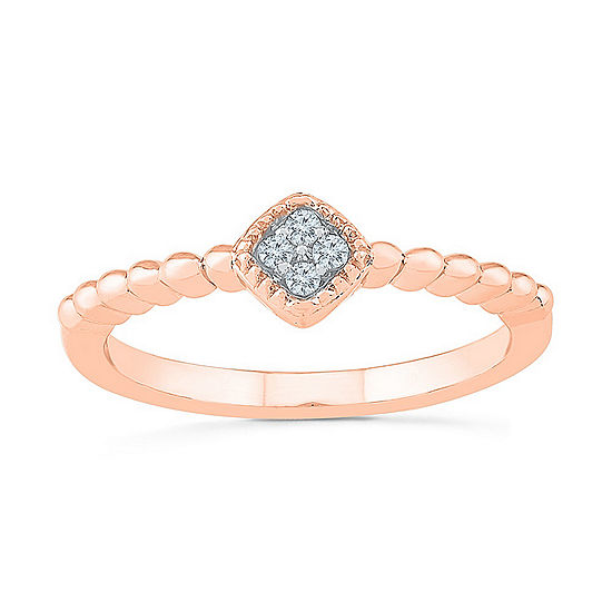 Promise My Love Womens Diamond Accent Genuine White Diamond 10K Rose Gold Promise Ring