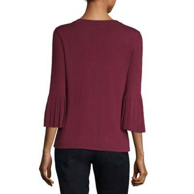 Liz Claiborne 3/4 Pleated Sleeve Crew Neck Pullover Sweater