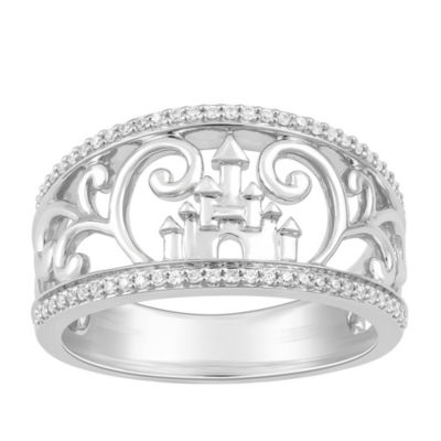 Enchanted Disney Fine Jewelry Womens 1/7 CT. T.W. Genuine White Diamond Sterling Silver Disney Princess Band