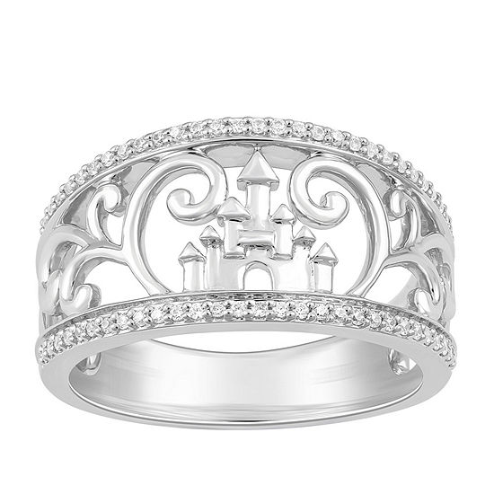 Enchanted Disney Fine Jewelry 1/7 CT. T.W. Genuine White Diamond Sterling Silver Disney Princess Band