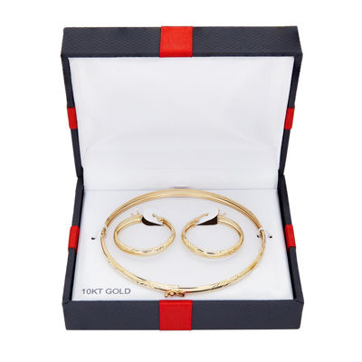 10K Yellow Gold Flex Bangle and 25mm Hoop Earrings Set