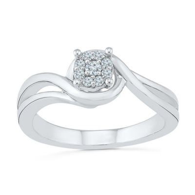 Promise My Love Womens Diamond Accent White Diamond Sterling Silver Promise Ring