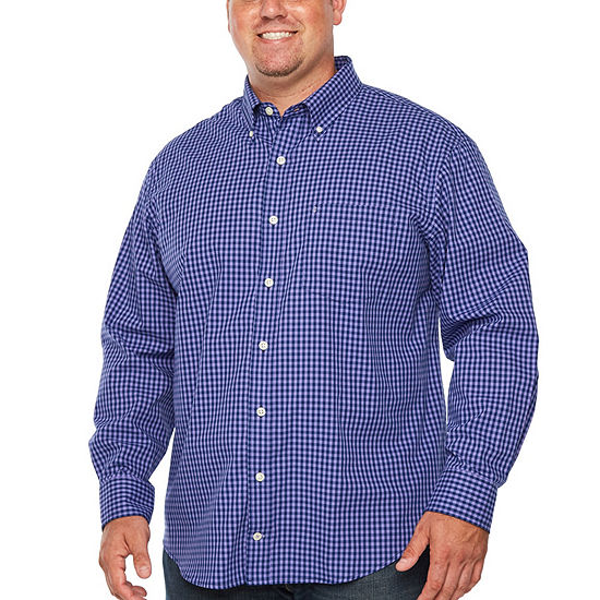 IZOD Premium Essential Wovens Mens Long Sleeve Gingham Button-Front Shirt Big and Tall