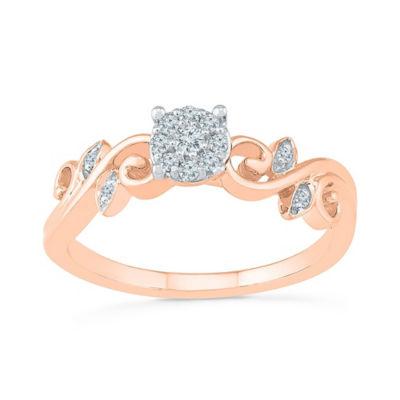Promise My Love Womens Diamond Accent White Diamond 10K Rose Gold Promise Ring