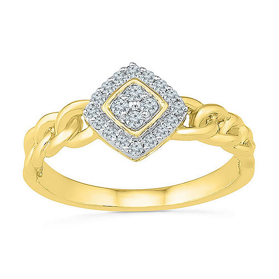 Promise My Love Womens 1/6 CT. T.W. Genuine White Diamond 10K Gold Promise Ring