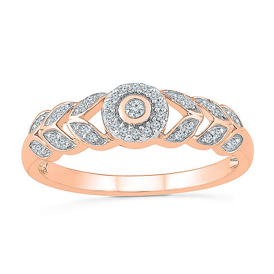 Promise My Love Womens 1 8 Ct Tw Genuine White Diamond 10k Rose Gold Promise Ring