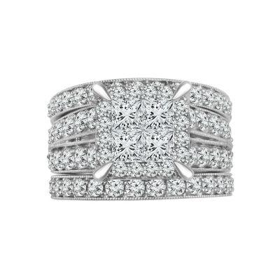Womens 2 3/4 CT. T.W. White Diamond 14K White Gold Engagement Ring