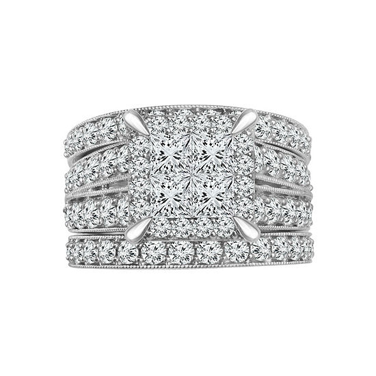 Womens 2 3/4 CT. T.W. Genuine White Diamond 14K White Gold Engagement Ring