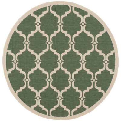 Safavieh Courtyard Collection Jobeth Geometric Indoor/Outdoor Round Area Rug