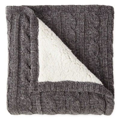 NPTC Chenille Reverse to Sherpa Throw