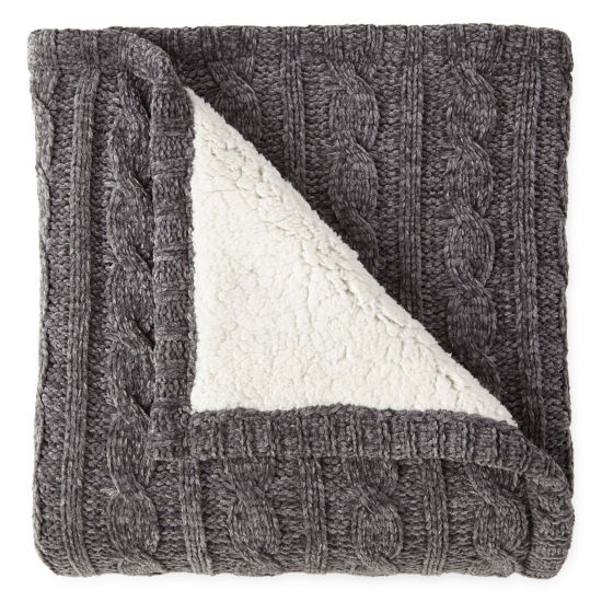 North Pole Trading Co Chenille Reverse to Sherpa Throw