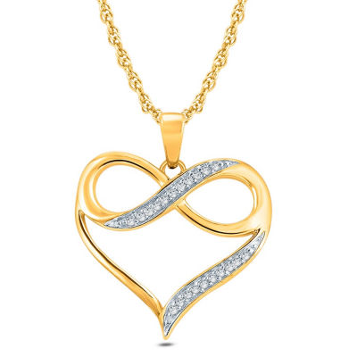 Womens White Diamond Accent 10K Gold Pendant Necklace
