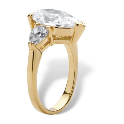 Diamonart Womens 5 CT. T.W. White Cubic Zirconia 18K Gold Over Brass Cocktail Ring