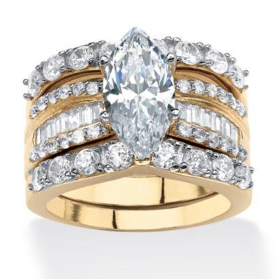 Diamonart Womens 4 1/2 CT. T.W. White Cubic Zirconia 18K Gold Over Silver Bridal Set