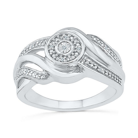 Promise My Love Womens Diamond Accent Genuine White Diamond Sterling Silver Promise Ring