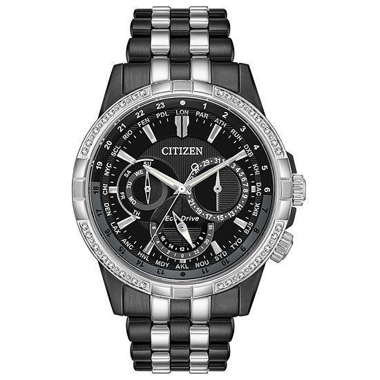 Citizen Calendrier Mens Black Stainless Steel Bracelet Watch-Bu2088-50e