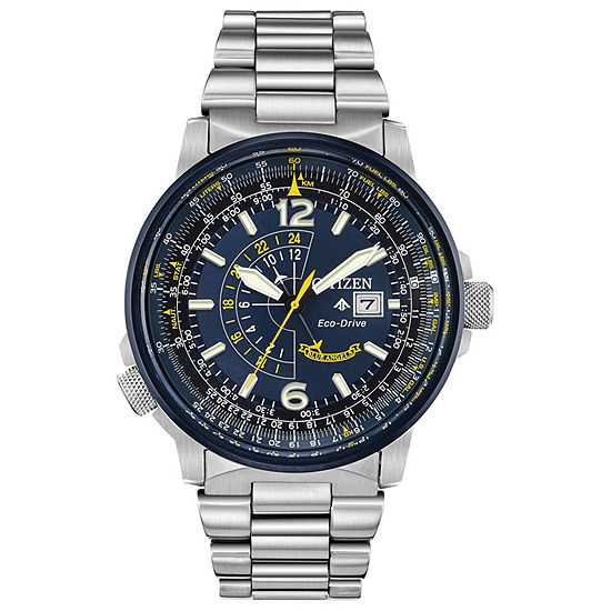 Citizen Promaster Nighthawk Mens Silver Tone Stainless Steel Bracelet Watch-Bj7006-56l