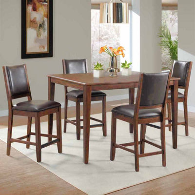 Dining Possibilities 5-Piece Rectangular Counter Height Table with Upholstered Stools