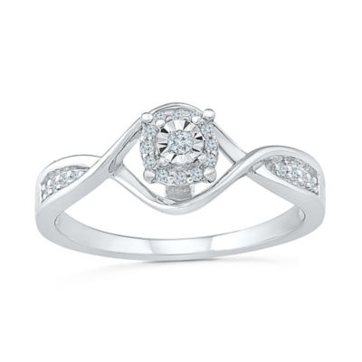 Promise My Love Womens Diamond Accent Round White Diamond Sterling Silver Promise Ring