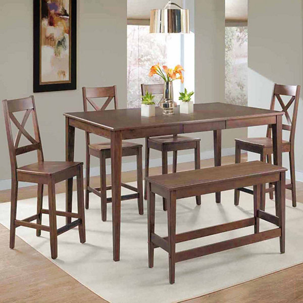 Dining Possibilities 6-Piece Rectangular Counter Height Table with Bench and Ladder Back Stools