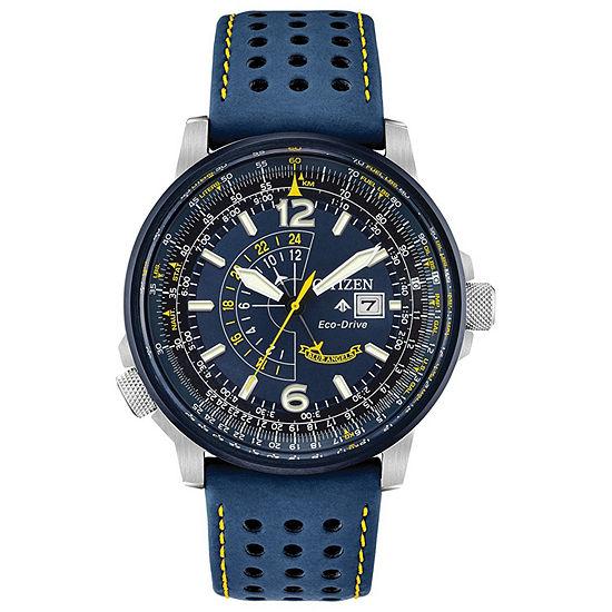 Citizen Promaster Nighthawk Mens Blue Leather Strap Watch-Bj7007-02l