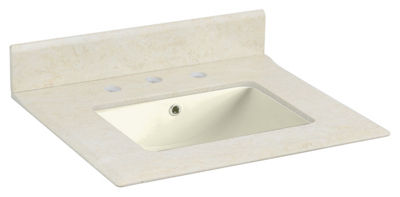 23.5-in. W 19.5-in. D Marble Top With Backsplash In Beige Color For 3H8-in. Faucet - Biscuit UM Sink
