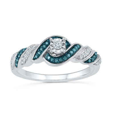 Promise My Love Womens 1/6 CT. T.W. Multi Color Diamond Sterling Silver Promise Ring