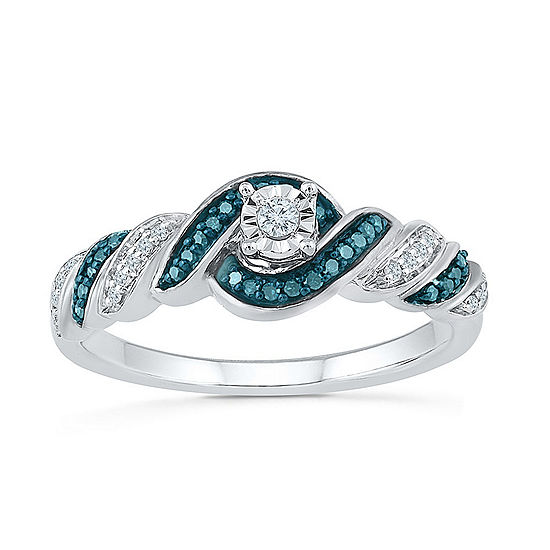 Promise My Love Womens 1/6 CT. T.W. Genuine Multi Color Diamond Sterling Silver Promise Ring