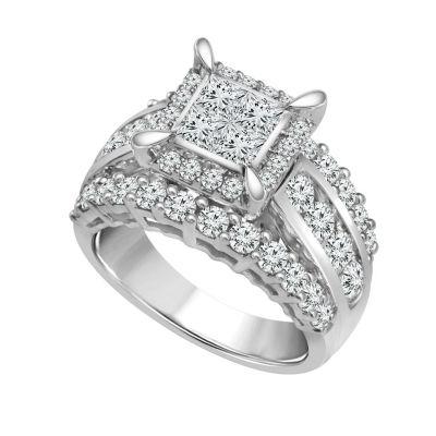 Womens 3 CT. T.W. White Diamond 14K White Gold Engagement Ring