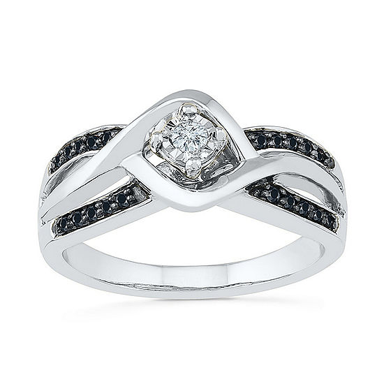 Promise My Love Womens 1 8 Ct Tw Genuine Multi Color Diamond Sterling Silver Promise Ring