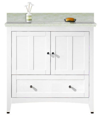 36-in. W Floor Mount White Vanity Set For 1 Hole Drilling Beige Top Biscuit UM Sink