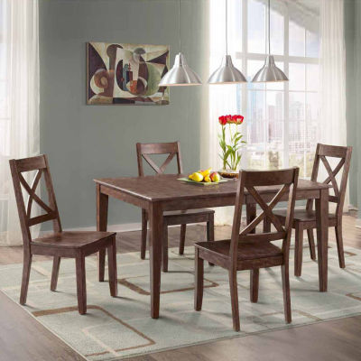 Dining Possibilities 5-Piece Rectangular Table with X-Back Chairs