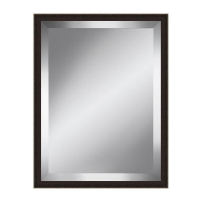 Textured Brown and Silver Beveled Plate Mirror