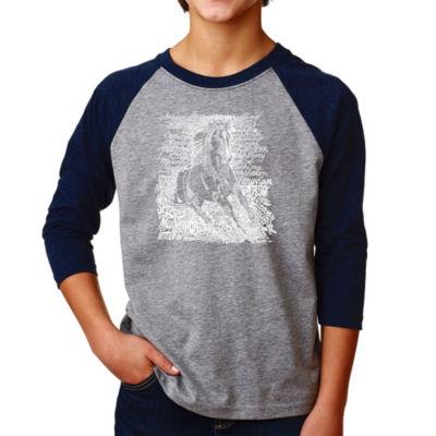 Los Angeles Pop Art Boy's Raglan Baseball Word Art T-shirt - POPULAR HORSE BREEDS