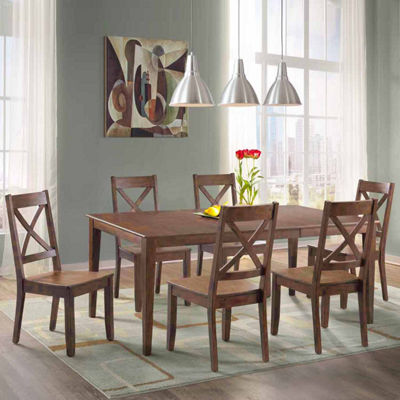 Dining Possibilities 7-Piece Rectangular Table with X-Back Chairs