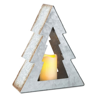 North Pole Trading Co. Winter Farmhouse Galvanized Tree With LED Pillar Candle Tabletop Decor