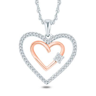 Womens 1/6 CT. T.W. White Diamond 10K Gold Heart Pendant Necklace