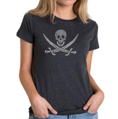Los Angeles Pop Art Women's Premium Blend Word ArtT-shirt - LYRICS TO A LEGENDARY PIRATE SONG