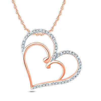 Womens 1/6 CT. T.W. White Diamond 10K Gold Heart Pendant Necklace