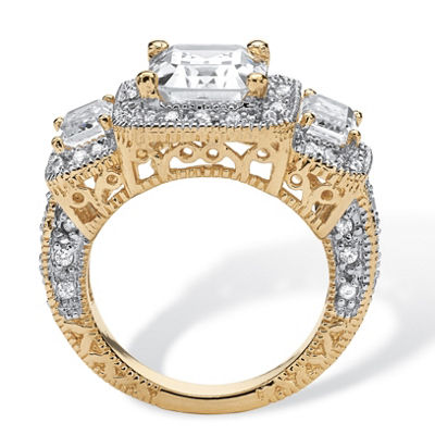 Diamonart Womens 5 CT. T.W. White Cubic Zirconia 14K Gold Over Silver Cocktail Ring